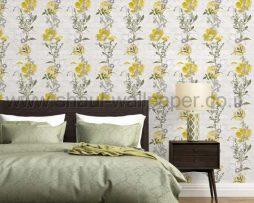טפטים לסלון פינות אוכל ולחלל הבית טפט רקע לבנים פרחים ועלים ירוק תפוח