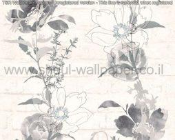 טפטים לסלון פינות אוכל ולחלל הבית טפט רקע לבנים פרחים ועלים בגווני אפור