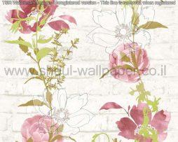 טפטים לסלון פינות אוכל ולחלל הבית טפט רקע לבנים פרחים ועלים ורוד וירוק