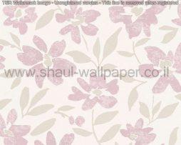 טפטים לסלון חדרי שינה ולחלל הבית טפט רקע לבן פרחים ועלים אפור ורוד
