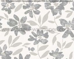 טפטים לסלון חדרי שינה ולחלל הבית טפט רקע לבן פרחים ועלים בגווני אפור