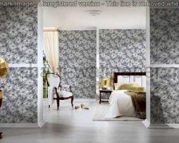 טפטים לסלון חדרי שינה ולחלל הבית טפט רקע אפור פרחים ועלים אפור ושחור