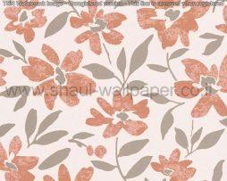 טפטים לסלון חדרי שינה ולחלל הבית טפט רקע לבן פרחים ועלים אפור וחום