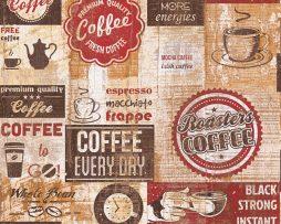 טפטים למטבח ,לפינות אוכל,מסעדות ובתי קפה כתוביות ואיורים גווני חום ואדום