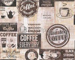 טפטים למטבח,לפינות אוכל,מסעדות ובתי קפה כתוביות ואיורים חום שחור ולבן