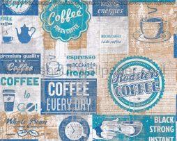 טפטים למטבח,לפינות אוכל,מסעדות ובתי קפה כתוביות ואיורים כחול תכלת חום