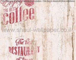 טפטים למטבח,לפינות אוכל,מסעדות ובתי קפה דמוי עץ רקע לבן כתוביות אדום