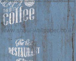 טפטים למטבח,לפינות אוכל,מסעדות ובתי קפה דמוי עץ רקע כחול כתוביות לבן