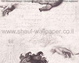 טפטים לסלון ,פינות אוכל וחלל הבית טפט מלאכים ואצבע אלוהים אפור ולבן