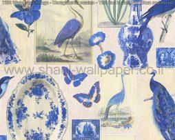 טפטים לסלון ,פינות אוכל וחלל הבית טפט בולים איורים ציפורים ופרפרים