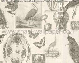 טפטים לסלון ,פינות אוכל וחלל הבית טפט בולים איורים ציפורים ופרפרים אפור