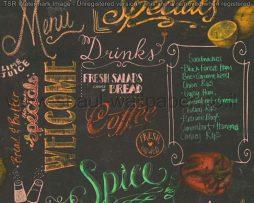 טפטים למטבח,פינות אוכל,מסעדות ובתי קפה טפט כתוביות צבעוניות רקע שחור