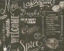 טפטים למטבח,פינות אוכל,מסעדות ובתי קפה טפט כתוביות לבן אפור רקע שחור
