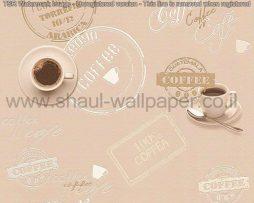 טפטים למטבח,פינות אוכל,בתי עסק וחלל הבית טפט כתוביות קפה בגווני שמנת