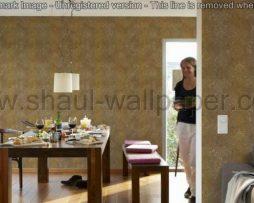 טפטים לסלון, טפטים לפינת אוכל, טפט מדליונים גדולים צבע זהב וחום