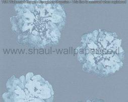 טפטים לחדר שינה, טפט מעוצב לסלון ברקע כחול עם פרחים בצבע תכלת