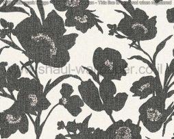 טפטים לחדר שינה, טפטים לסלון, טפט של גבעולים ופרחים גדולים שחור לבן