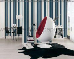 טפטים לחדר שינה, טפטים לסלון, טפט פסים עבים וצרים בכחול ולבן