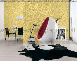 טפטים לחדר שינה, טפטים לסלון, טפט צורות פרחים בפסיפס צבע חרדל אפור