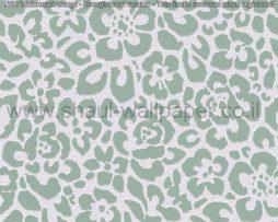 טפטים לחדר שינה, טפטים לסלון, טפט צורות פרחים בפסיפס צבע אפור ירוק