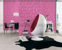 טפטים לחדר שינה, טפטים לסלון, טפט תעתועים בצורת פרחים צבע סגול אפור
