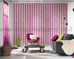 טפטים לחדר שינה, טפטים לסלון, טפט פסים של צורות פרחים צבע סגול אפור