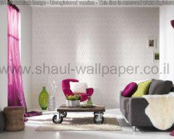 טפטים לחדר שינה, טפטים לפינות אוכל, טפט מעויינים ומשושים צבע לבן וסגול