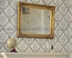 טפטים לסלון,חדרי שינה,פינות אוכל וחלל הבית טפט מדליונים אפור רקע שמנת