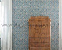 טפטים לסלון ,חדרי שינה וחלל הבית טפט מדליונים רקע כחול וחום