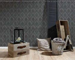 טפטים לסלון ,חדרי שינה וחלל הבית טפט מדליונים שחורים על רקע אפור כהה