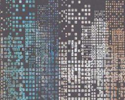 טפט לקיר ולחלל הבית טפט קוביות קטנות דמוי מגדלי ניו-יורק עם חלונות מוארים