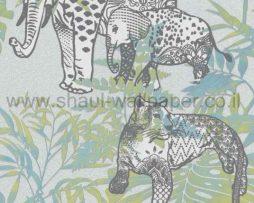 טפט לקיר לחלל הבית ובתי עסק בסגנון ג'ונגל מצוייר פילים ונמרים