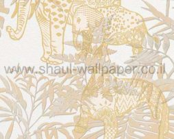 טפט לקיר לחלל הבית ובתי עסק בסגנון ג'ונגל מצויר פילים ונמרים
