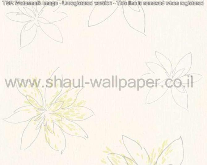 טפטים לסלון,חדר שינה,וחלל הבית טפט פרחים גדולים כסף ירוק תפוח רקע לבן