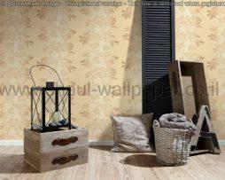 טפטים לסלון,חדר שינה,וחלל הבית טפט ענפים גווני חום רקע שמנת בהיר