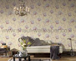 טפטים לסלון,חדר שינה,וחלל הבית טפט פרחים גדולים מבריק רקע מוזהב וסגול