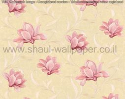 טפטים לסלון,חדר שינה,וחלל הבית טפט פרחים גדולים מבריק רקע מוזהב וורוד