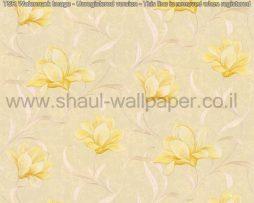 טפטים לסלון,חדר שינה,וחלל הבית טפט פרחים גדולים מבריק רקע זהב וצהוב