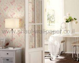 טפטים לסלון,חדר שינה,וחלל הבית טפט זרי פרחים מבריקים רקע שמנת וורוד