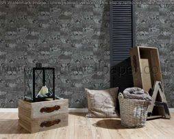 טפטים לסלון,פינות אוכל,חדר שינה,וחלל הבית טפט דמוי בטון אפור כהה וכסף