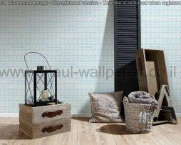 טפטים לסלון,חדר שינה,וחלל הבית טפט תלת מימד צורות גאומטריות,לבן ותכלת