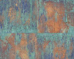טפט דמוי קיר בטון גווני חום ירוק וכחול .