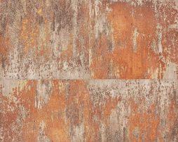 טפט דמוי קיר בטון גווני חום וברונזה .