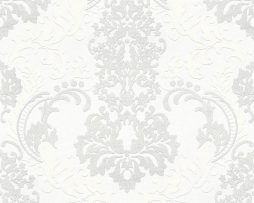 טפט מדליונים לבן בשילוב נצנצים .