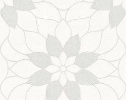 טפט פרח גדול לבן בהיר בשילוב נצנצים.