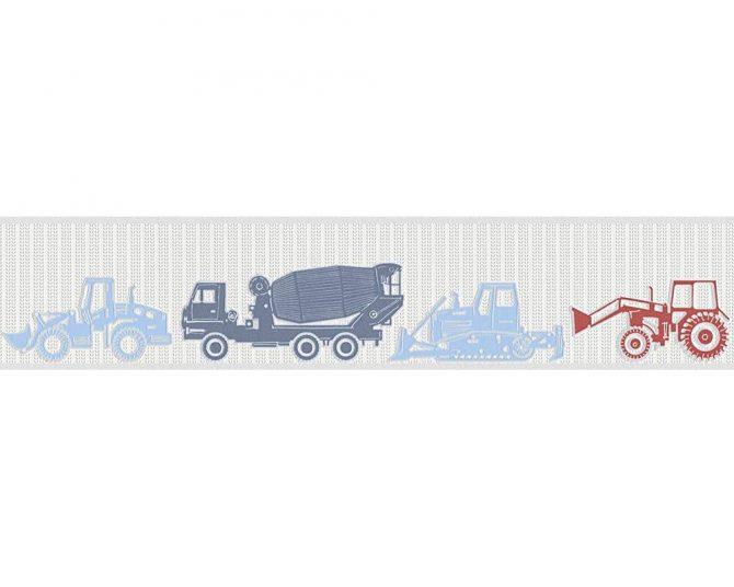 בורדר טרקטורים בגווני כחול ואדום